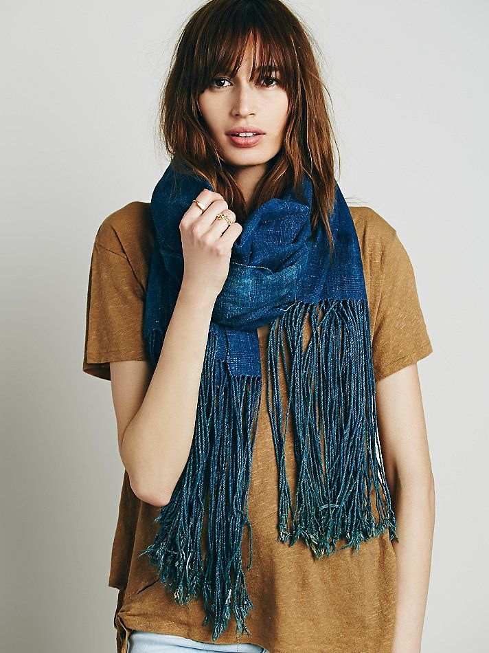 Free People Indigo Denim Fringe Scarf, kr 1915.05