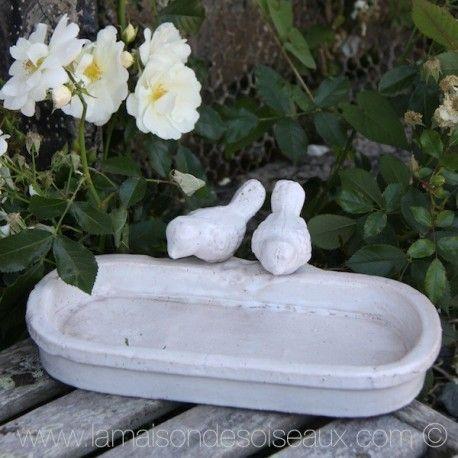 deco jardin. Très beau bain d\'oiseau en terre cuite émaillée patine ...