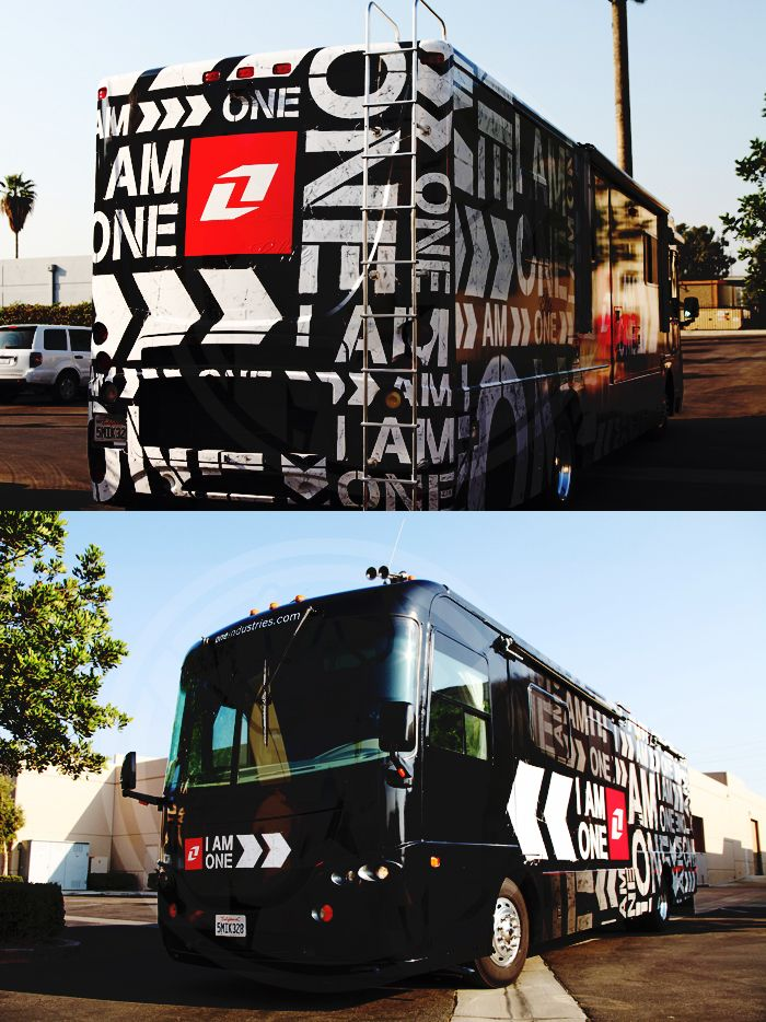 Vinyl RV wrap for One Industries by Monster Media | Bus