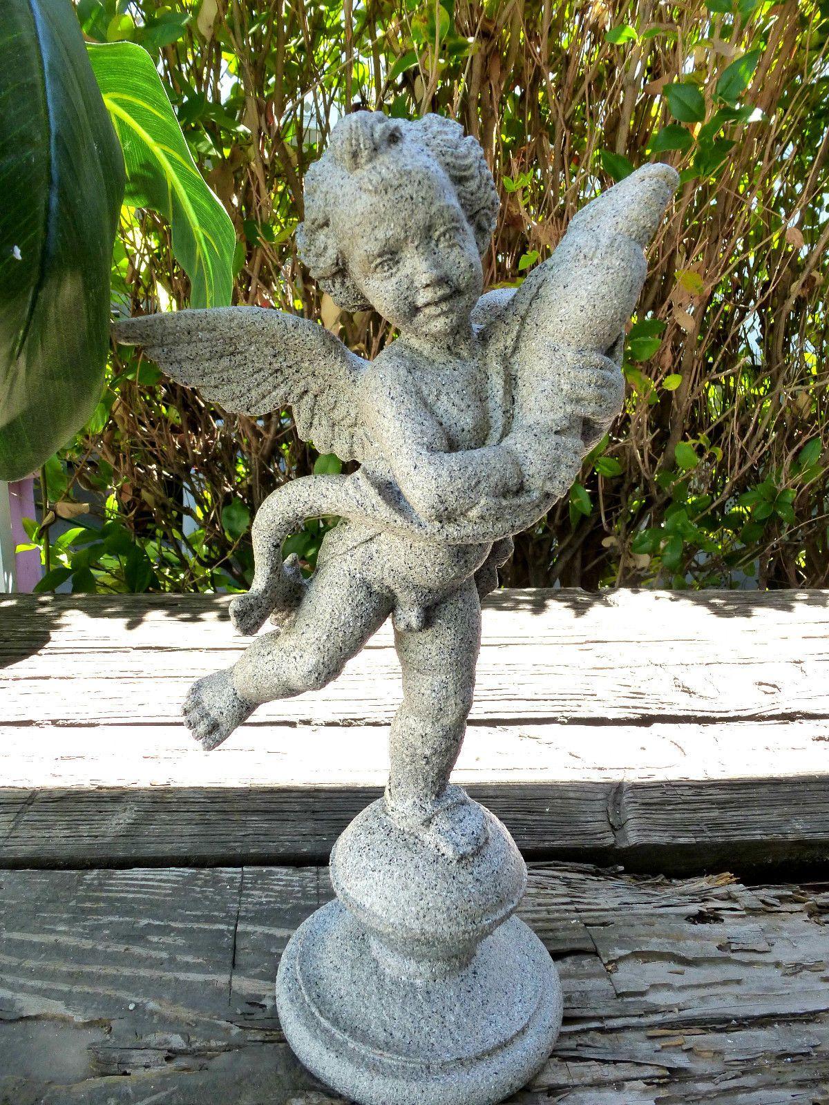 Charmant Vintage Older Small GARDEN STATUE CHERUB WITH DOLPHIN Fish Child Figure |  EBay