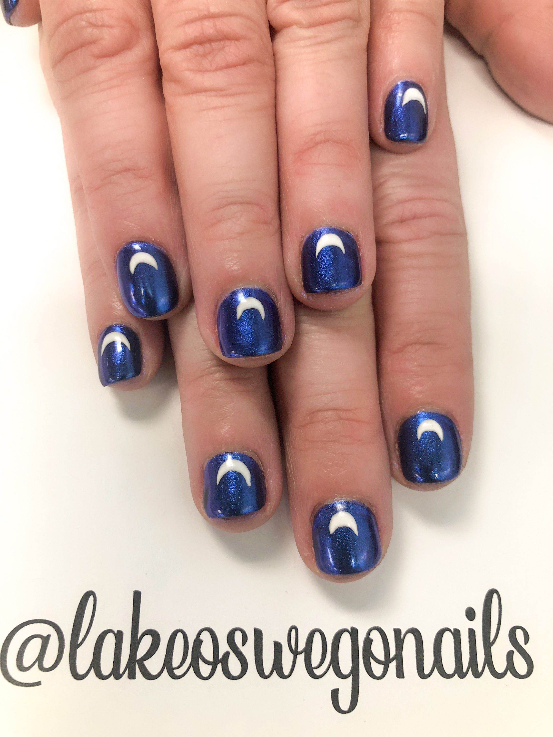 Blue Moon Nail Art In 2020 Moon Nails Nails Manicure