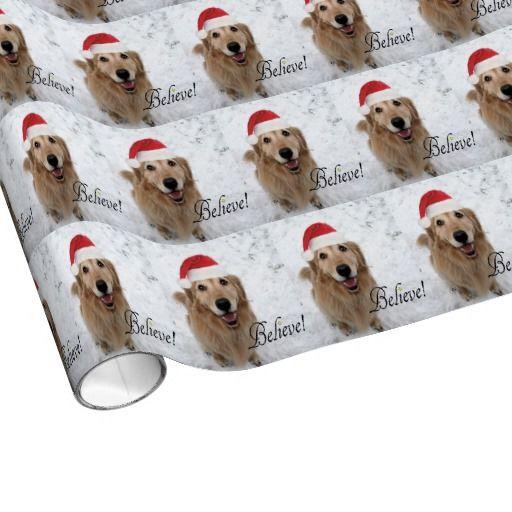 Golden Retriever Believe Christmas Wrapping Paper Zazzle Com