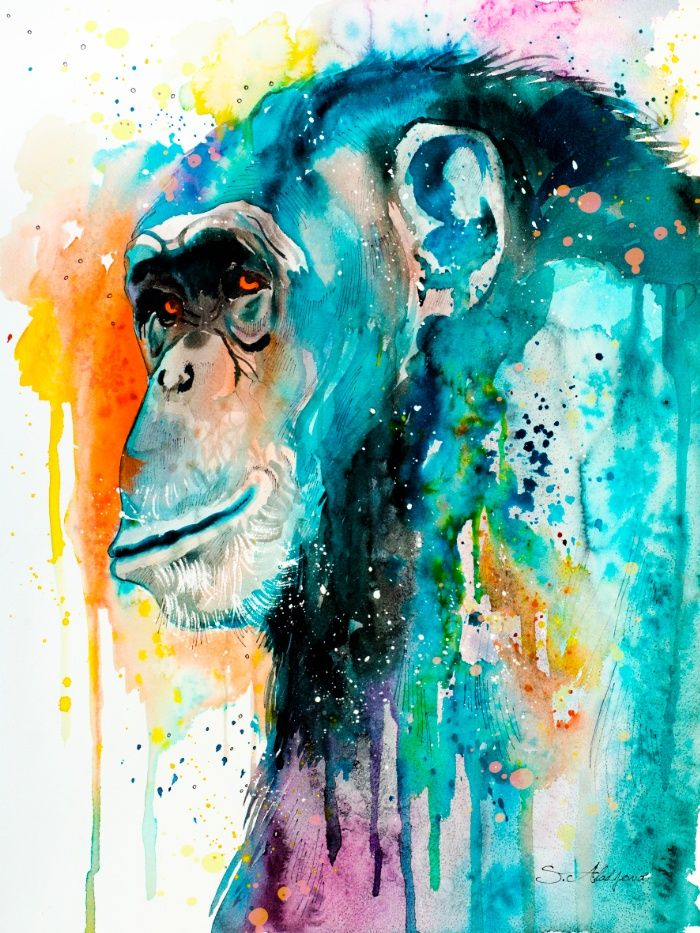 Chimpanzee Art Print Aquarell Tiere Tiere Malen Und Strassenkunst
