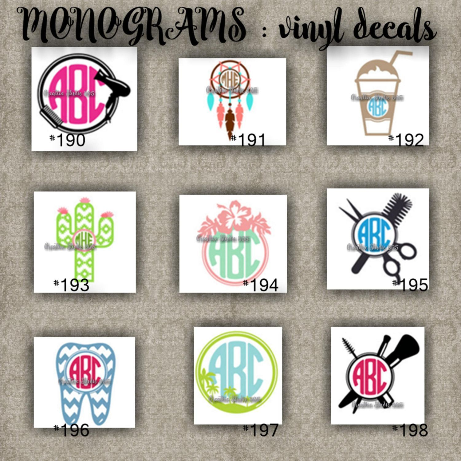 Monogram vinyl decals name initial decal sticker car decals car stickers laptop sticker 190 198
