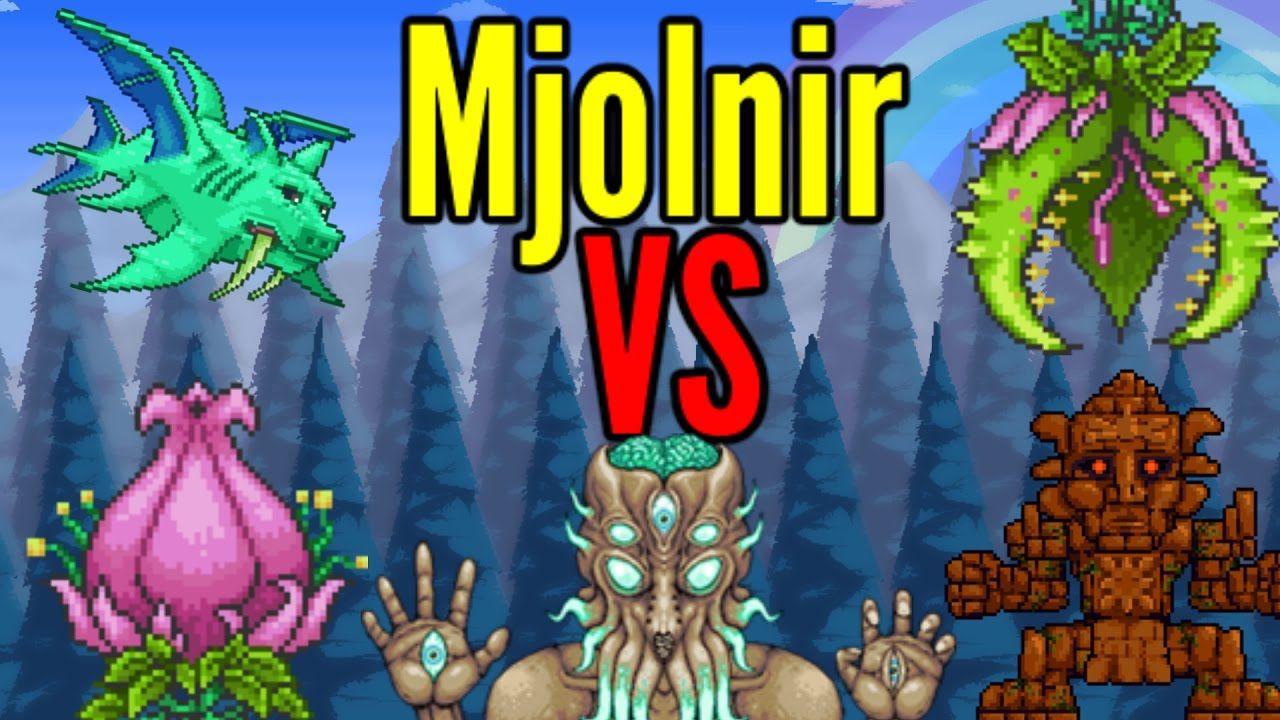 Terraria Mjolnir Vs All Bosses Modded Bosses Included With Images Mjolnir Terrarium Boss