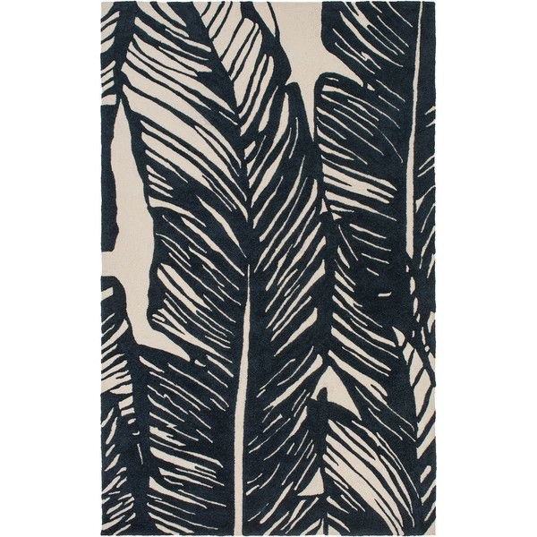 Tovere Coastal Black Palm Leaves Outdoor Rug 4'x6' (€295) ❤ liked on Polyvore featuring home, rugs, black rug, coastal style rugs, leaf rug, black outdoor rug and coastal rugs