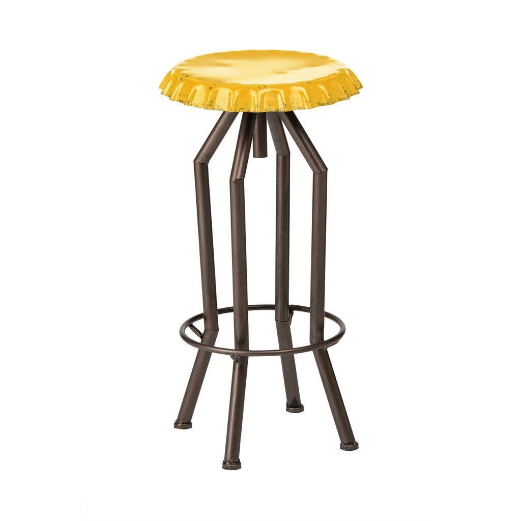 Artisan Bar Stool, Bottle Cap Design, Yellow Metal