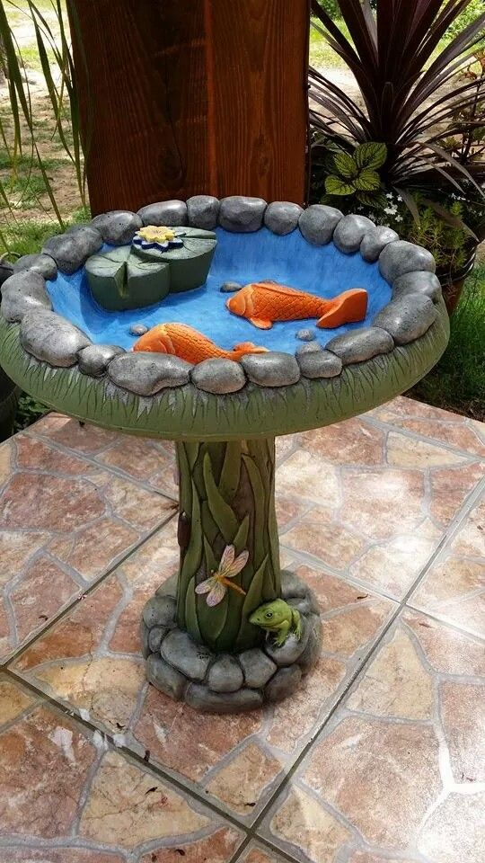 Bird Bath Painted With Acrylic Paint Bird Bath Bath Paint Diy Bird Bath