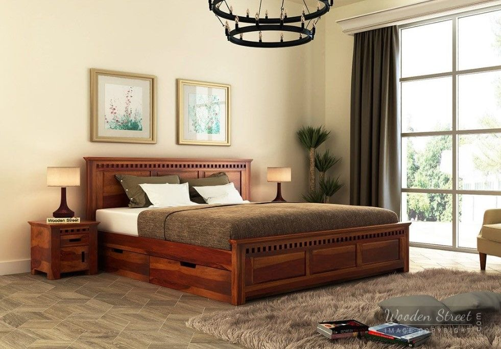 Best Buy Adolph Bed With Side Storage King Size Honey Finish 640 x 480