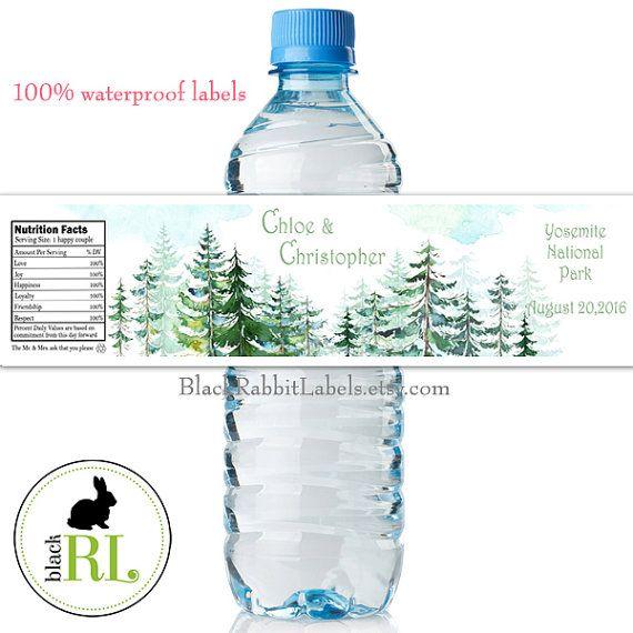Personalized Water Bottle Labels 100 by BlackRabbitLabels Wedding