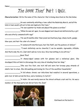 the book thief activities pdf reading strategies  this product contains a quiz for part one of the book thief by markus zusak