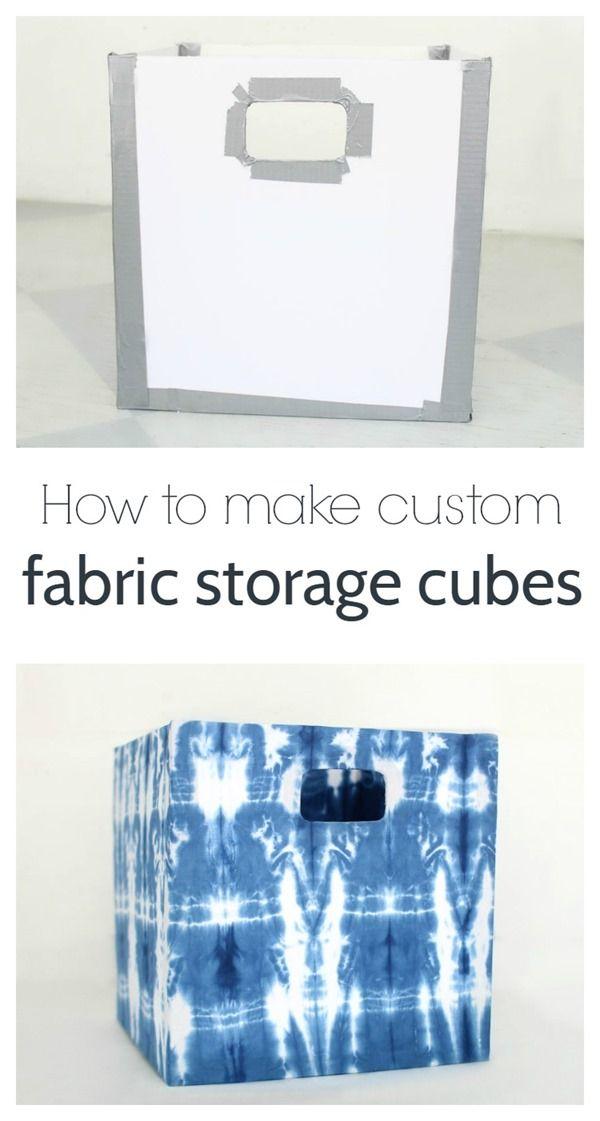 acf7308fddba How to make fabric storage cubes   Storage   Fabric storage bins ...