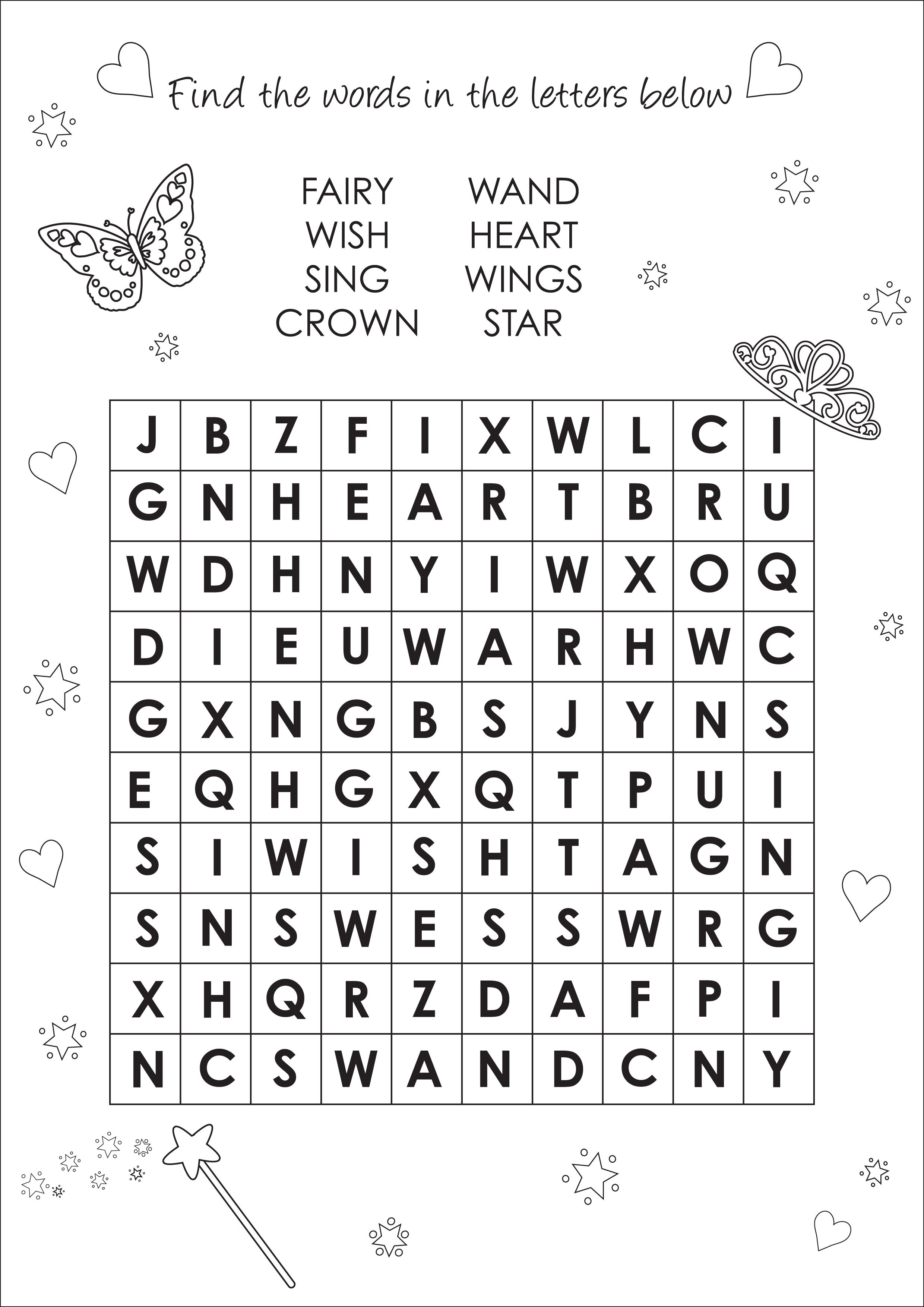 Activity Sheet Find A Word Activity Page By Pink Poppy