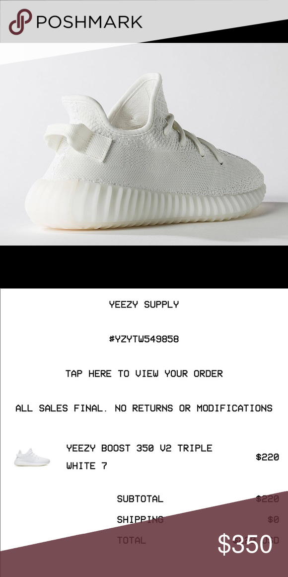 e7d7e9cedd2 All white Yeezy 350 Boost YEEZY BOOST 350 V2 TRIPLE WHITE 7 Fits ladies 8.5  Purchased on Yeezy Supply Proof of Purchase 100% authentic Yeezy Shoes  Athletic ...