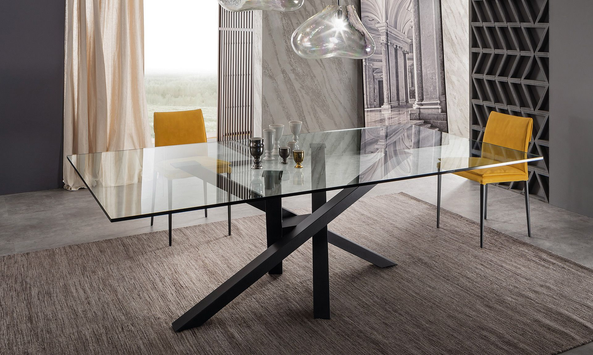 Tavolo shangai cristallo riflessi luci ok table for Scrivania cristallo design
