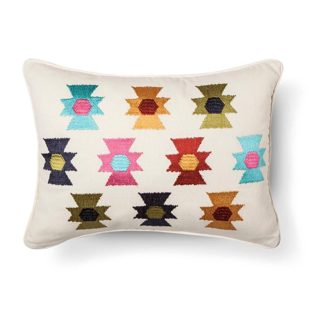 Zorada embroidered aztex decorative pillow x multicolored