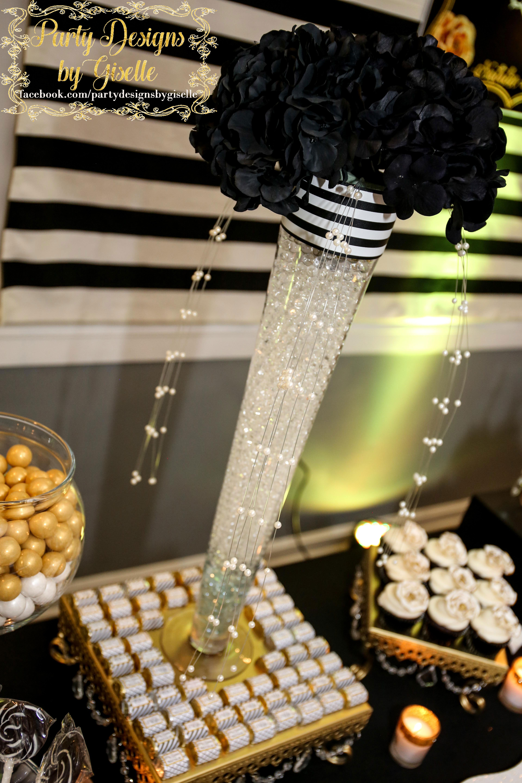 Black White Gold Wedding Birthday Party Centerpiece W Trumpet Vase Gel Water Beads Lcd Gold Birthday Party Black Centerpieces Black And Gold Centerpieces