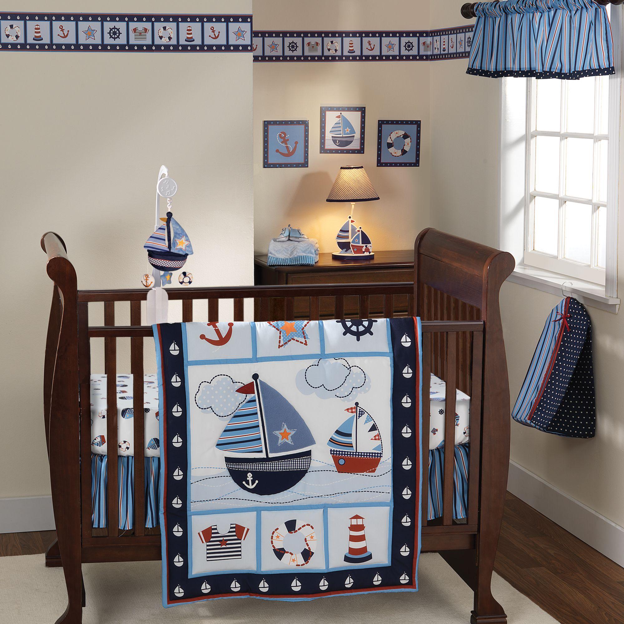 Sail Away Blue Red White Stripe Window Valance Boy Nursery