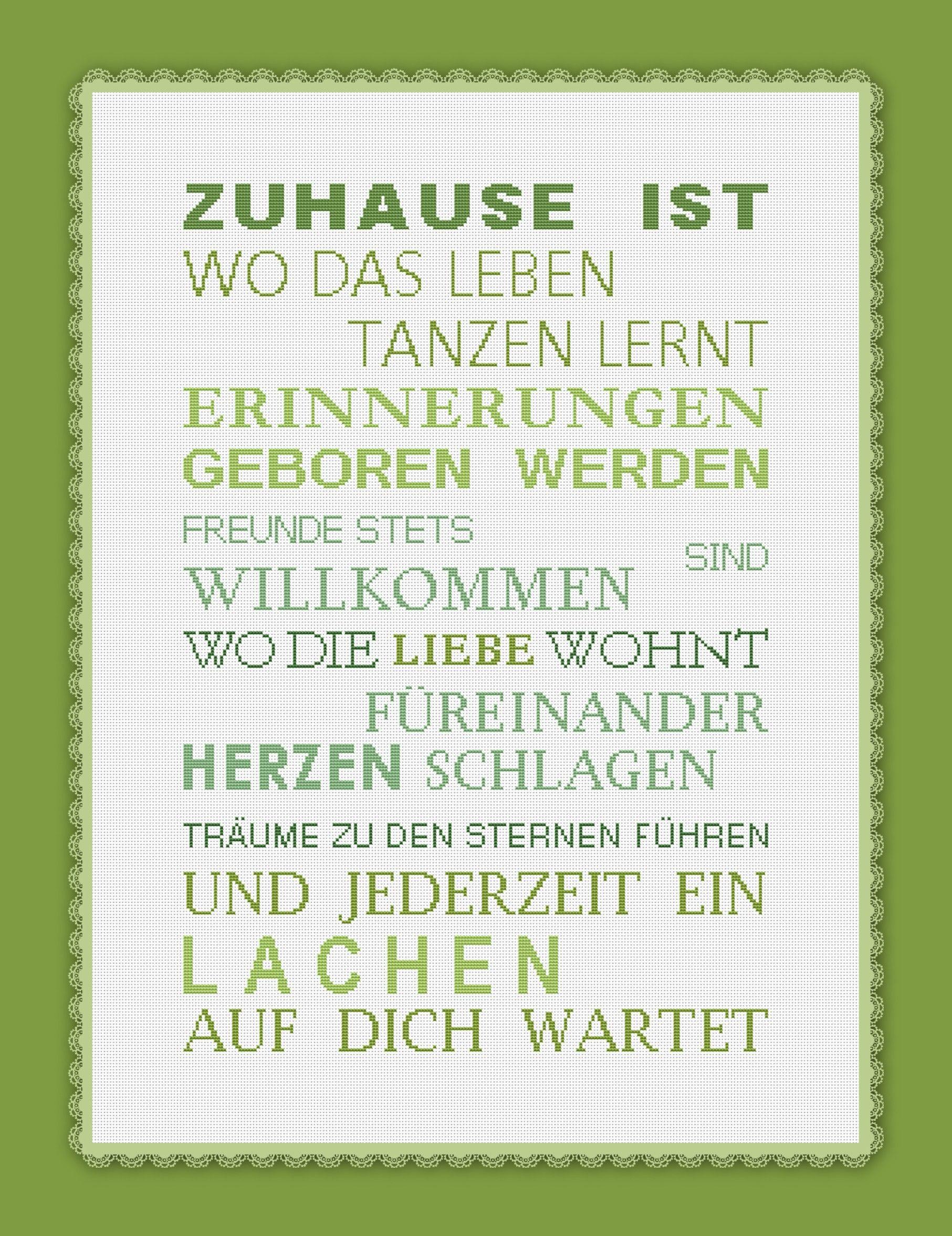2484 Stickvorlage Kreuzstich Zuhause ist... in 5 Farben | Sticken ...