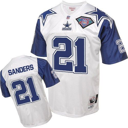 c47f892c9 Cheap Mitchell And Ness #21 Deion Sanders Authentic White 75TH Patch  Throwback NFL Dallas Cowboys Jersey for sale