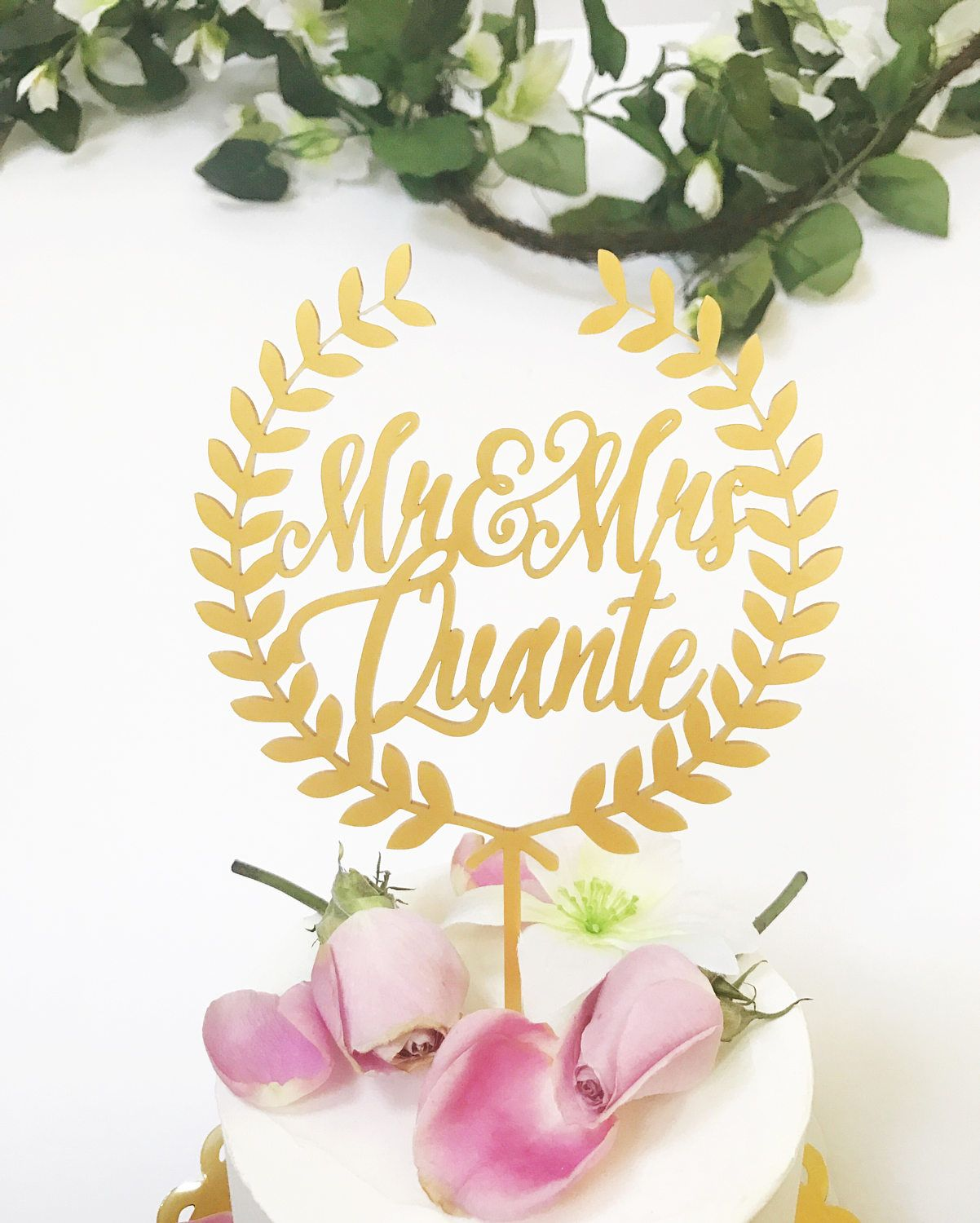 Laser Cut Mr. and Mrs. Gold Wreath Personalized Wedding Cake Topper ...