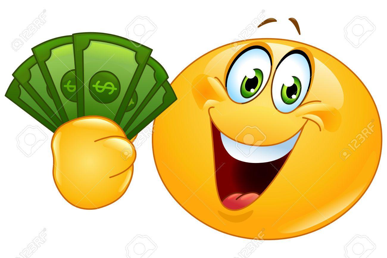 Happy Emoticon Holding Dollar Bills Happy Emoticon Funny Emoticons Money Emoji