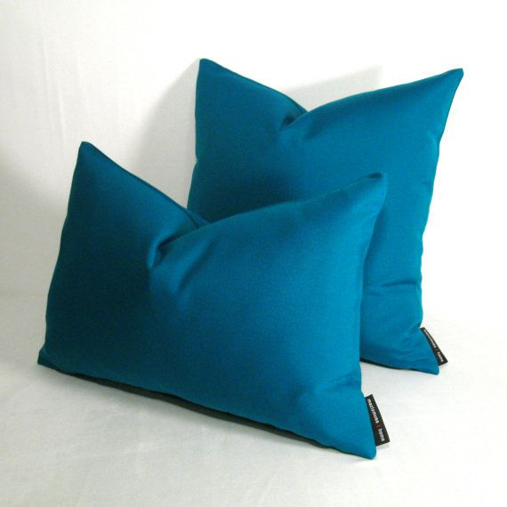 Decorative Teal Outdoor Pillow Cover Blue Green Throw Pillow Case