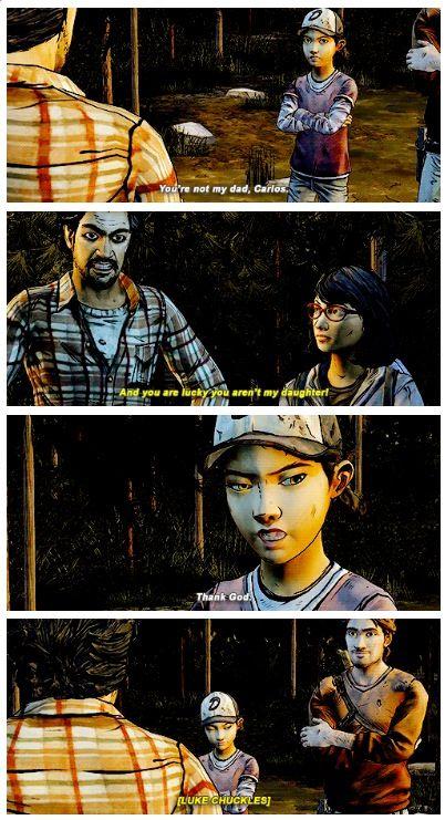 Sarah S And Luke S Faces Make This Even Better Xd Via Mo3 White The Walking Dead Telltale Clementine Walking Dead Walking Dead Funny