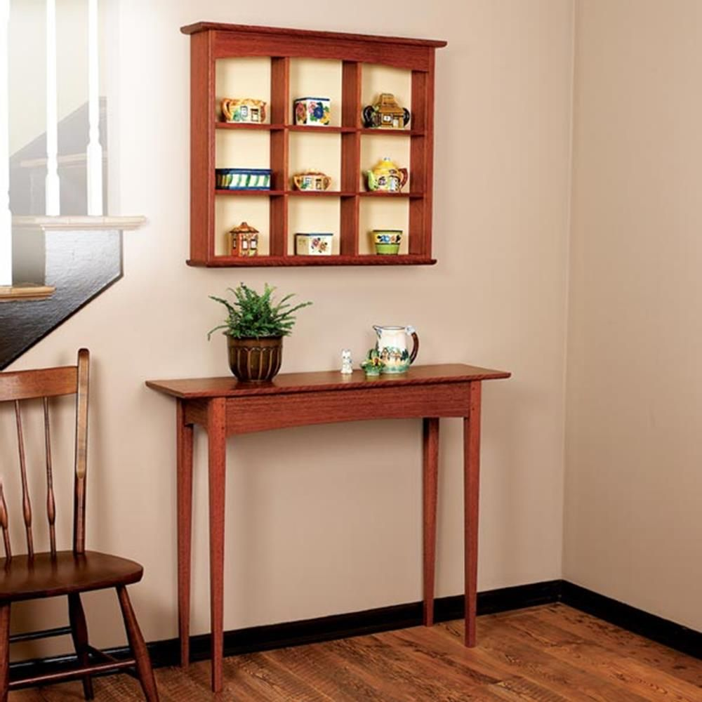 Curio Shelf And Hall Table Woodworking Plan Furniture Tables Bookcases Shelving
