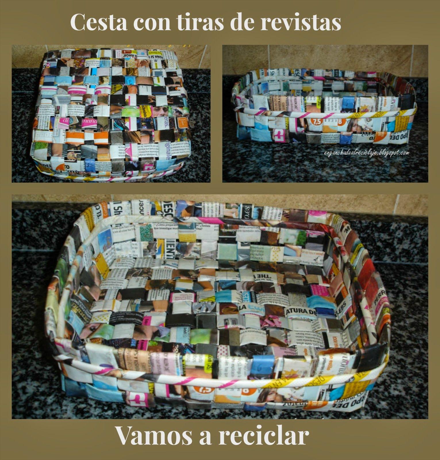 Cesta cuadrada con revistas cesteria con periodicos - Cesta de papel de periodico ...