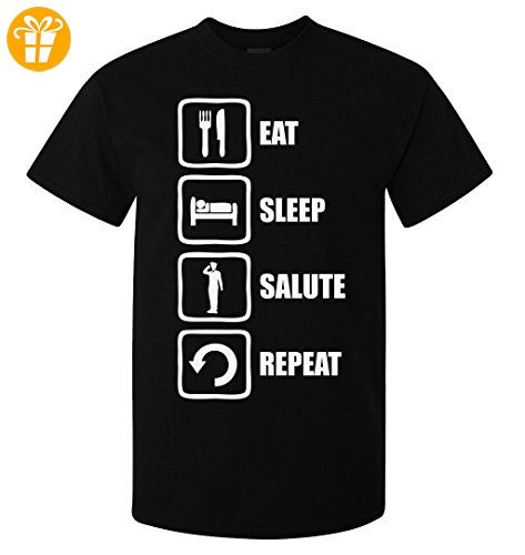 Eat Sleep Salute Repeat Soldier Graphic Design Men's T-Shirt Medium (*Partner-Link)