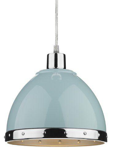 Stylish Duck Egg Blue Metal Pendant Shade Pair HP023584