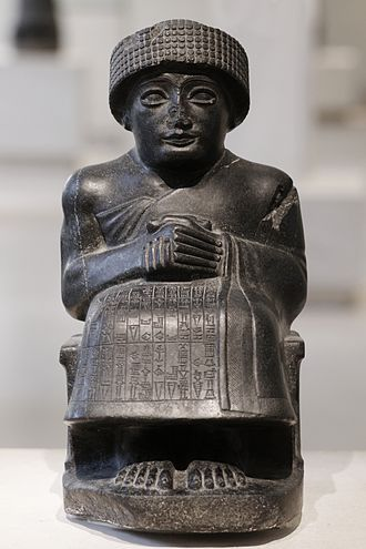 In Babylonia, in place of the bas-relief, there was greater use of three-dimensional figures—the earliest examples being the Statues of Gudea, that are realistic if somewhat clumsy.-Statues of Gudea