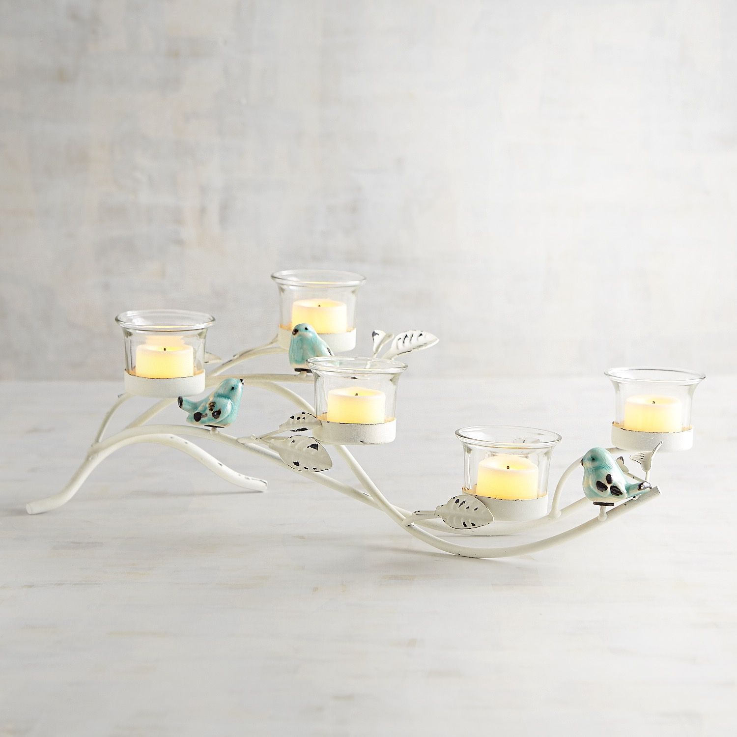 Blue bird centerpiece candle holder white centerpieces whites and