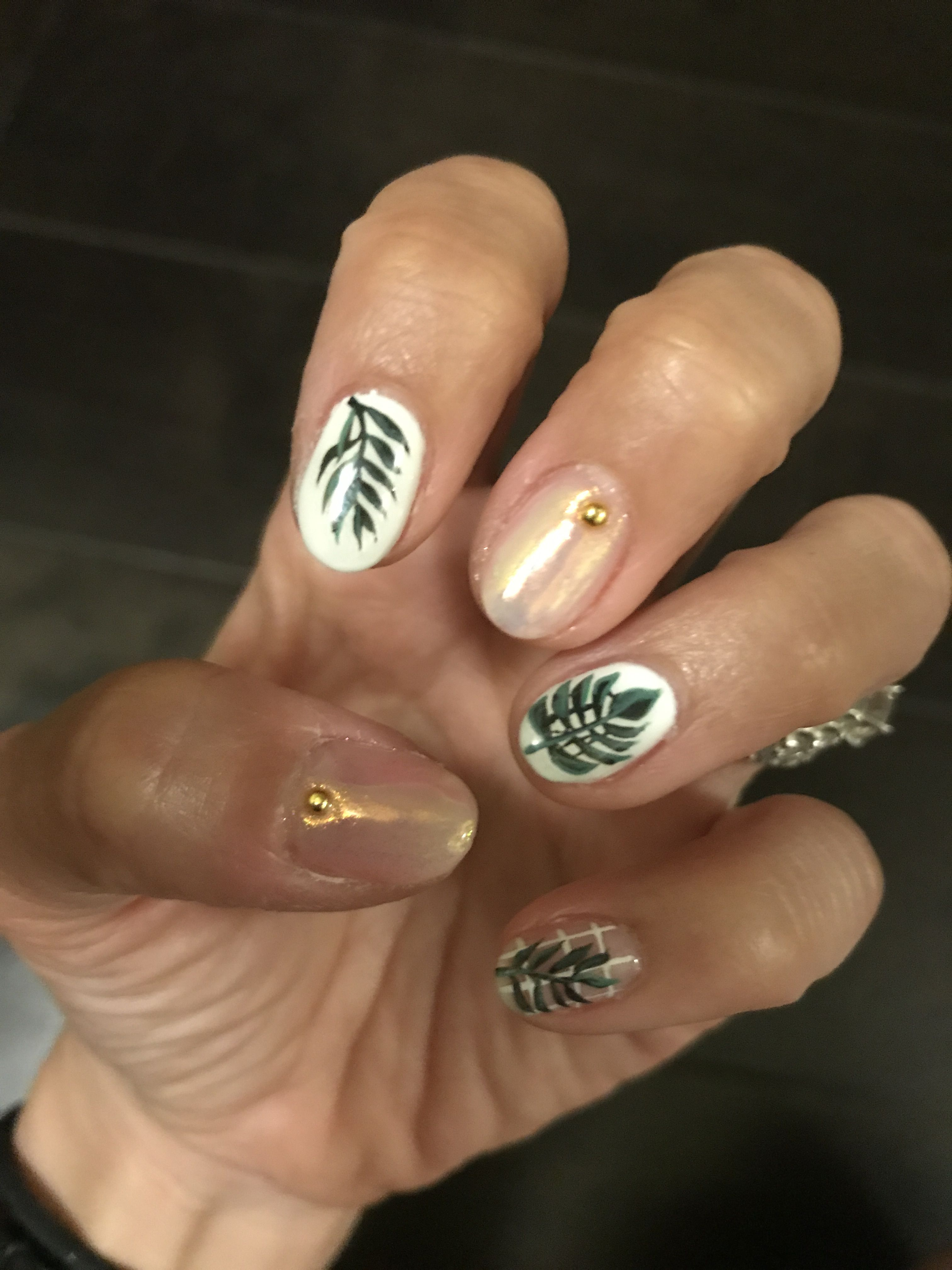 Tropical Leaf Gel Nails Design On White Hard Gel With Holographic