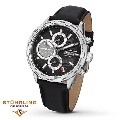 Stuhrling Original Men's Watch   Full of functionality, this smart men's watch by Stührling Original includes a date feature, multiple time zones, luminous hands and water-resistance. A notched bezel and smooth black leather strap give it a casual air. The stainless steel case is capped with a Krysterna™ crystal to protect the movement.