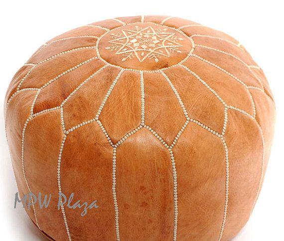 Light Tan Leather Moroccan Pouf Ottoman STUFFED Pinterest Enchanting Moroccan Poufs For Sale