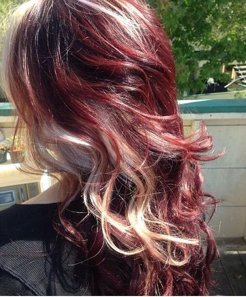 Wine Red And Blonde Red Blonde Hair Hair Styles Red Hair With