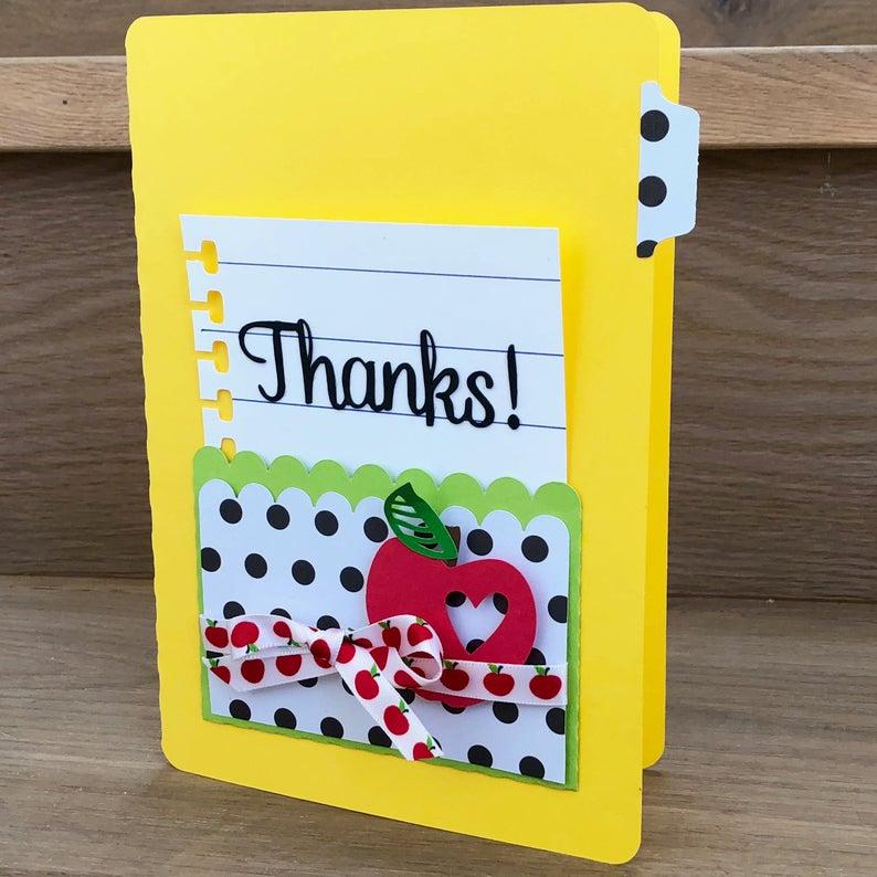 teacher thank you thank you card handmade  etsy  free
