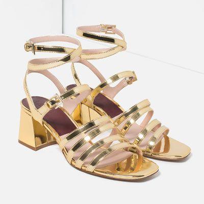 714d22a05b5 Image 3 of BLOCK HEEL STRAPPY SANDALS from Zara Gold Block Heels