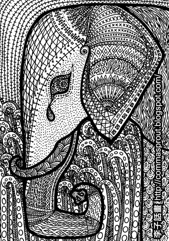 African Pattern Elephant By Comma Sprout 李子話畫 非洲圖騰 大象