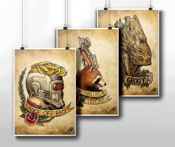 Guardians Of The Galaxy Tattoo Parlour Poster Prints
