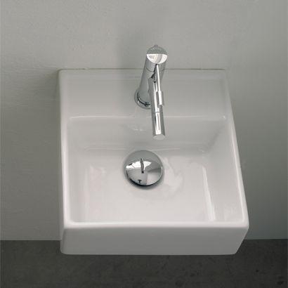 Scarabeo 8036w Semi Recessed Ceramic Washbasin With Overflow In White Rectangular Sink Bathroom Square Bathroom Sink Wall Mounted Bathroom Sinks