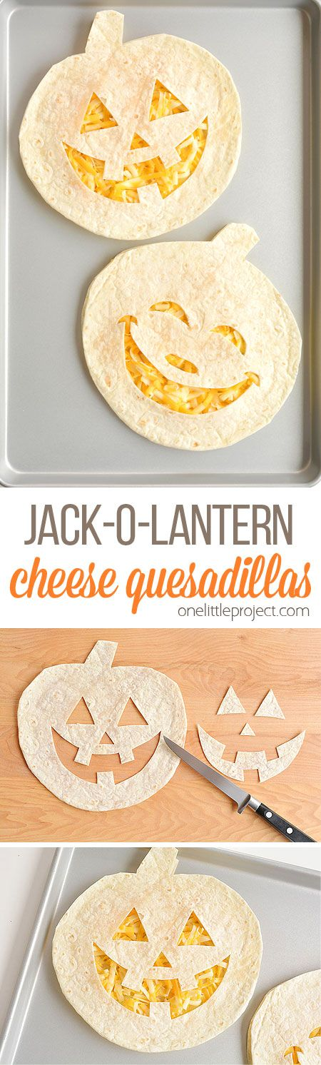Fun and Easy Jack-o-lantern Cheese Quesadillas - One Little Project