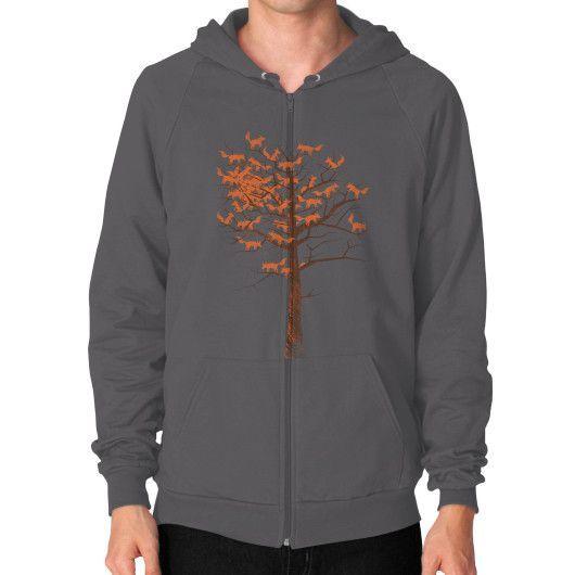 Blazing Fox Tree Zip Hoodie (on man)