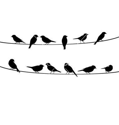 Birds On Wire Background Vector Art Download Vectors 1823266 Silhouette Art Bird Silhouette Bird Stencil