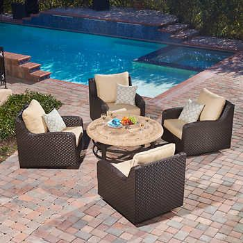 Westwood Lane Motion Chat Set By Mission Hills® 4 Swivel Club Chairs,  Travertine Stone Top Coffee Table, All Weather Woven Resin Wicker With  Sunbrella® ...