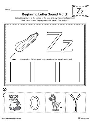 Letter Z Beginning Sound Picture Match Worksheet Beginning Sounds Worksheets Phonics Worksheets Dot Worksheets