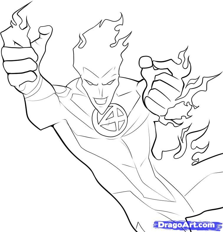 How To Draw The Human Torch By Dawn With Images Online Drawing