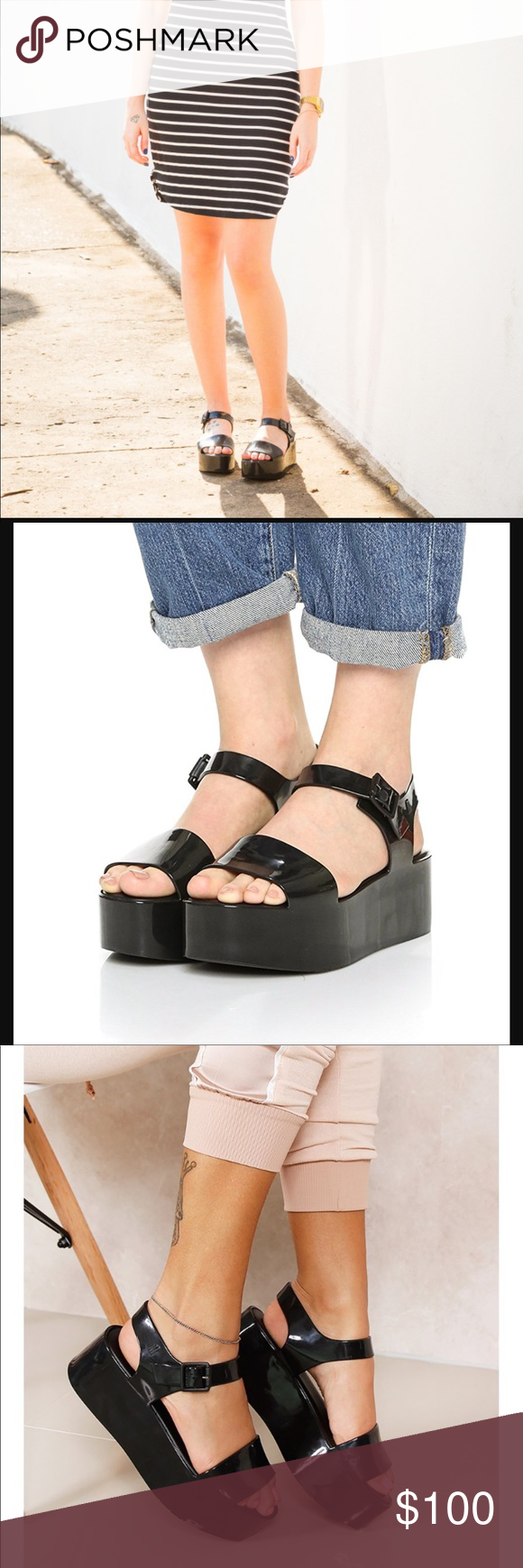 f3305d216765e New condition never worn without box. Platform Jelly sandal in black.  Adorable